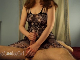 Amazing edging handjob session with double cum — Gorgeous curvy redhead milks him for every drop